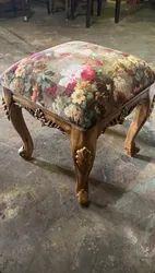 Wooden Natural Sagwan Carving Chair With Cushion