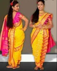 Yellow Plain Ladies Silk Wedding Nauvari Saree Rs 1400 Piece Madhu Creation Id 20761448691 Ishin cotton printed nauvari saree yellow plain ladies silk wedding