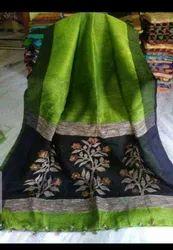 Premium Quality Silk Linen Fabric Hand Weaving Jamdani Saree With Blouse