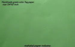 Cotton Green Color Handmade Tag Sheet, 200-250, Size: 24*32