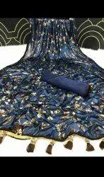 Blue Wedding Foil Saree, 6 m (With Blouse Piece)