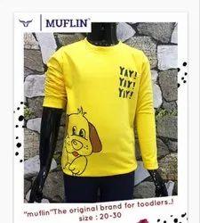 Hosiery Printed Boys Full Sleevs & Round Nack Full Stich T-Shirt, Size: 20*30