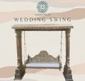 Golden Wooden Carved Wedding Swing For Home