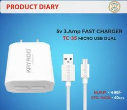 Kayroo Mobile Charger 3.0Amp Dual USB, Ampere: 3amp