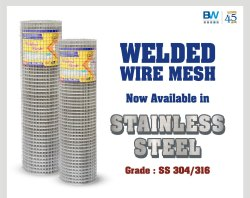 Stainless Steel Welded Wire Mesh Grade: 304 SS, For Industrial, Material Grade: SS304,SS316