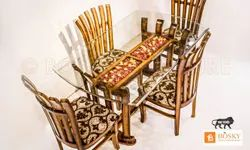 Bosky Furniture 4 Chairs,1 Table & 1 Glass Top Wooden Merina Dining Set, For Home, Size: 60