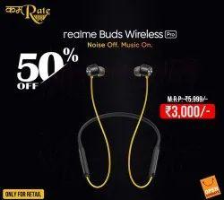 Black Wireless Realme Earphone, Model Name/Number: Pro