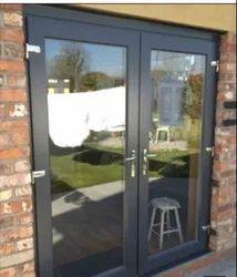 Black Powder Coated Stylish Aluminium Door, For Home, Thickness: 8 MM