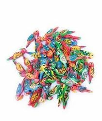 Wooden Colorful Parrots beads /buttons