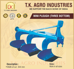 Mild Steel Mini Plough 3 Bottom, For Agriculture