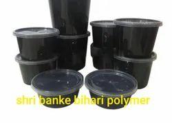 Black Round Food Container