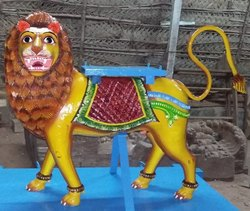 Multicolor Lion Wooden Vahanam, For Temple