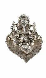 Meenakari Metal Silver Plated Ganesh Ji On Patta, Size: H- 7 Cm,W- 11 Cm L- 9 Cm
