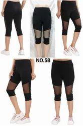 Black Imp Lycra 3/4, Girls Capri, Ladies Imp Net Capri, Size: Xl
