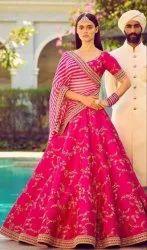 Chanderi Red Semi Stitched Ladies Lehenga