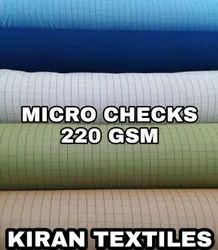 Multicolor Polyester Micro Checks Fabric, Check/stripes