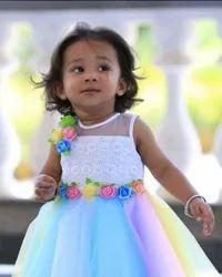 Multicolor Plain Baby Party Wear Frock