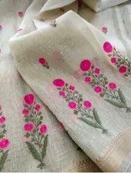 Silk Linen Floral Weaving Work Sarees