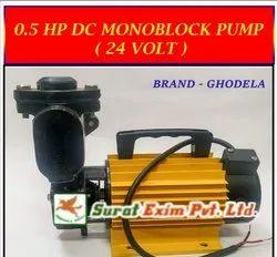 Ghodela 10-15 Meter 0.5 HP 24V DC Monoblock Pump, 300 Watt, Max Flow Rate: 40-50 Lpm