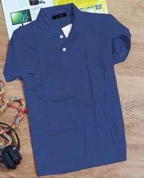 Aryson Men Collar Plain Cotton Half Sleeve Blue T-Shirt