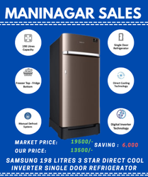 Samsung 198 Litres 3 Star Direct Cool Inverter Single Door Refrigerator