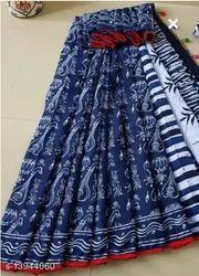 Bagru Print Cotton Pom Pom Lace Saree With Blouse Piece