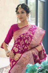 Banarasi Silk Alfi Zari Work Semi Katan Soft Saree, 6.3 M (With Blouse Piece)