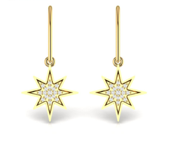 Starburst Diamond Dangling Earrings For Women In 14kt Yellow Rose White Gold Fine Jewelry