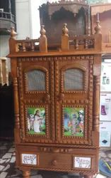 Natural Wood Colour Pushtimarg Temple, Size: L18inch X D12inch X H 32inch