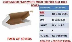 Die Cut Cartons Self Lock Model 14x11x2.5 3ply White Unprinted