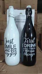 Flip Top Cap Colored Printed Glass Bottles, 1 Litre