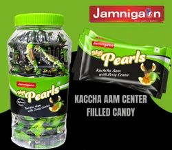 Green Round Pulse Candy /center Filled Masala Candy - Kaccha Aam Myy Pearls Candy, Packaging Size: Jar