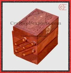 Brown Rosewood Single Stair Jewelry Box 3 In 1