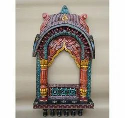 Traditional Rajasthani Wooden Hand Painted Jharokha With Antique Finishing Home Decor