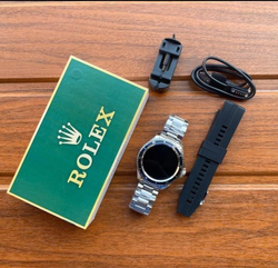 Rubber White Rolex Smart Watch, For Formal, 55g