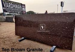 Polished Slab Ten Brown Granite, For Flooring, Thickness: 20-25 mm