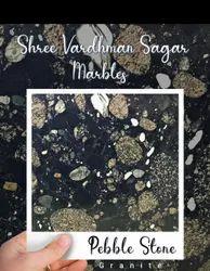 Slab Black Pebble Stone Granite, For Flooring, Thickness: 16mm