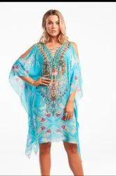 Women Bohemian Neck Tie Digital Print Style Summer Kaftan
