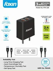 Smart Charger Foxin 2.4AMP Dual Port with Micro USB & Type-C CableFPA-226