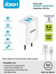 150- 285 V Ac Ampere: 3amp Foxin 3.4 Amp Dual Port USB Smart Adapter FPA-234, 4.75-5.25 V Dc