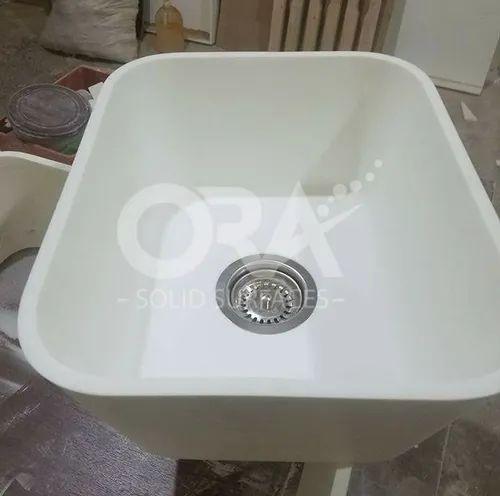 Bathroom Solid Surface Wash Basin White, Solid Surface Bathroom Sink