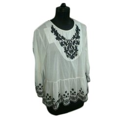 White Round Neck Ladies Embroidered Cotton Top