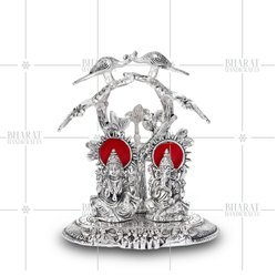 Silver Plated Laxmi Ganesha Idol Under Tree