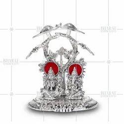 Silver Plated Laxmi Ganesha Idol Under Tree