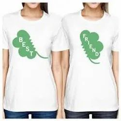 Cotton White Ladies Round Neck Printed T Shirt, Size: L