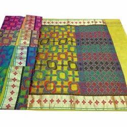Festive Wear Ladies Embroidered Saree, Construction Type: Machine