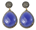 Blue Chalcedony Pave Diamond Set Earring