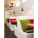 L Shape Two Seater White Lounge Sofa For Restaurant