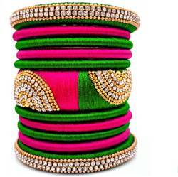 Pink And Green Silk Thread Bangles Set