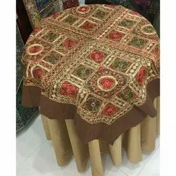 Cotton Square Embroidery Glass Table Cover, Size: 100 X 100 Cm